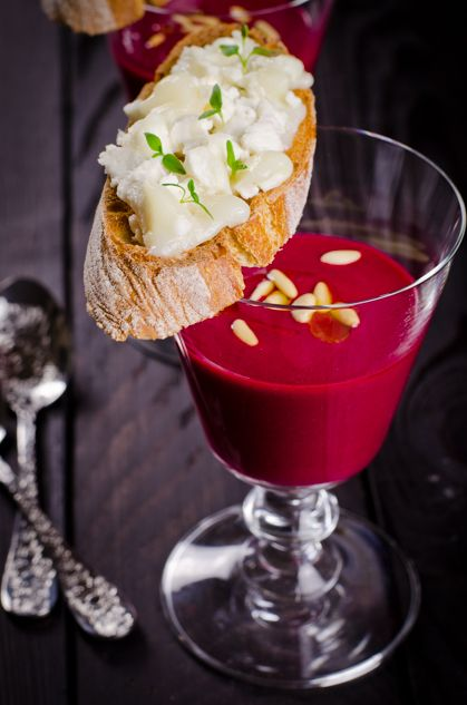 Beetroot and raspberry vinegar soup with cheese and thyme tosta