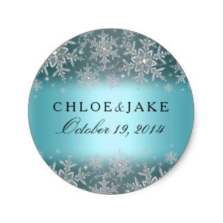 Blue Winter Wedding Sticker. Elegant crystal snowflake design. Please note all flat images!