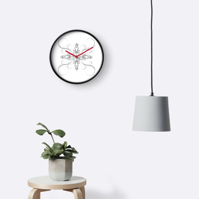 Ornament black design, a clock version. Also in other products.