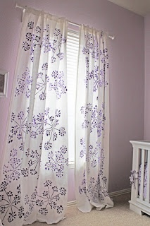 a little of this, a little of that: Stencil your own Window Treatments-excellent DIY idea for unique curtains