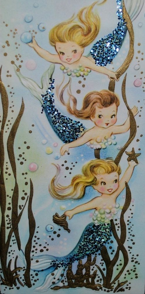 Vintage Mermaid Card, gives me the idea to add glitter to something I print out...