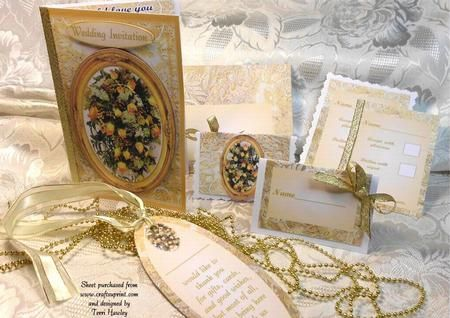 A full wedding invitation kit, includes invitation front, inside which has a choice of two, one you fill in all details, the other just a few details, there is reply card, a table name card,and a thank you book mark, and last the kit also includes the matching envelope. all you need.