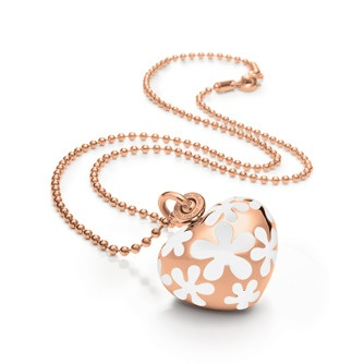 Jewellery - HAPPY NUGGET NECKLACE - Modern and clean, this necklace from Folli Follie's Happy Nugget Collection makes for an alluring accessory. Shown here with a rose gold-plated strand with heart pendant and white enamel detailing, it's simple meets fabulous.