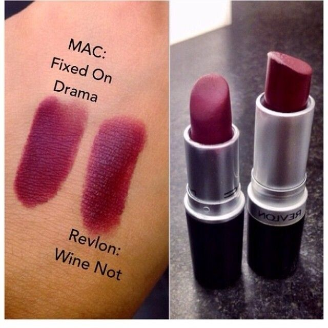 "Revlon's ""Wine Not"" ($6.99 at drugstores) is a perfect dupe for Mac's ""Fixed on Drama"" ($16 at Mac)"