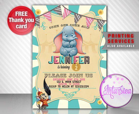 Dumbo Baby Girl Invitation Birthday DIGITAL By IntarsicaDesign