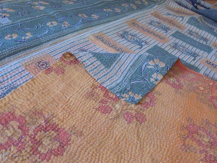 Vintage Kantha Quilt Gudari Reversible Throw Ralli Indian Cotton Blanket  ,E 258 #Handmade