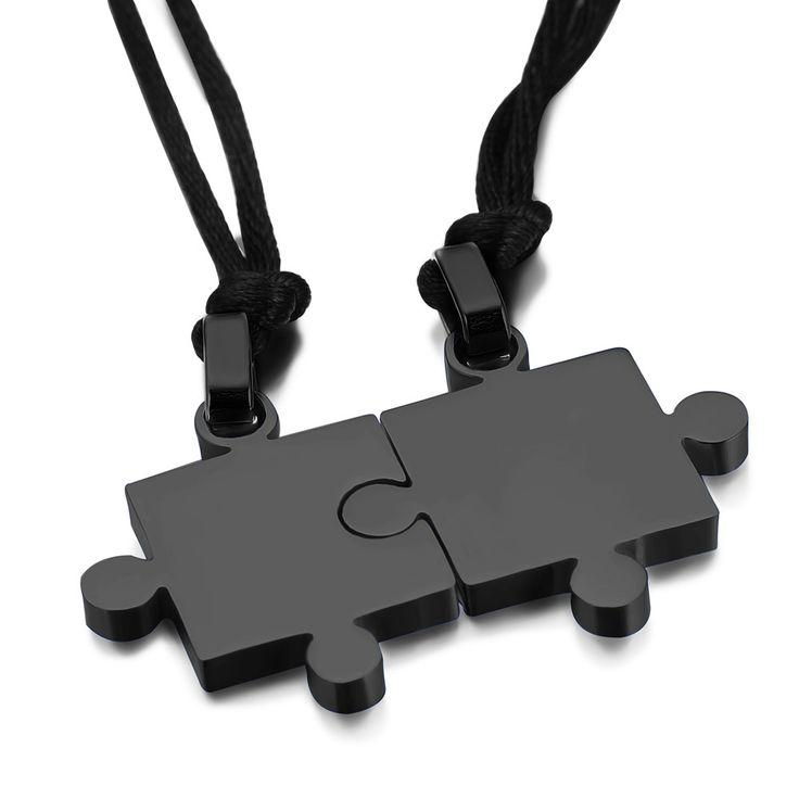 1 par amantes par romântico pingentes colares titanium aço suave enigma & pingentes colares para o amante do presente do valentim em Pingente Colares de Jóias & Acessórios no AliExpress.com | Alibaba Group