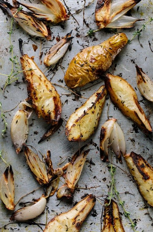 caramelized pears and shallot with thyme