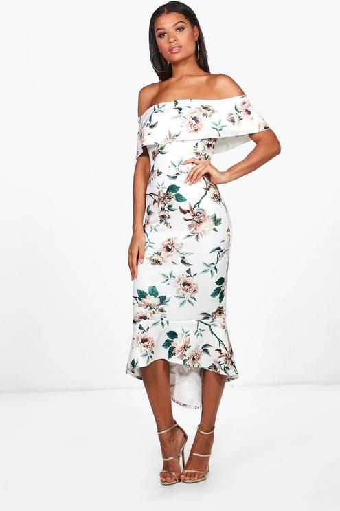 bc3be63876dde nice and subtle pattern, sexy, and affordable Floral Bardot Frill Hem Midi  Dress