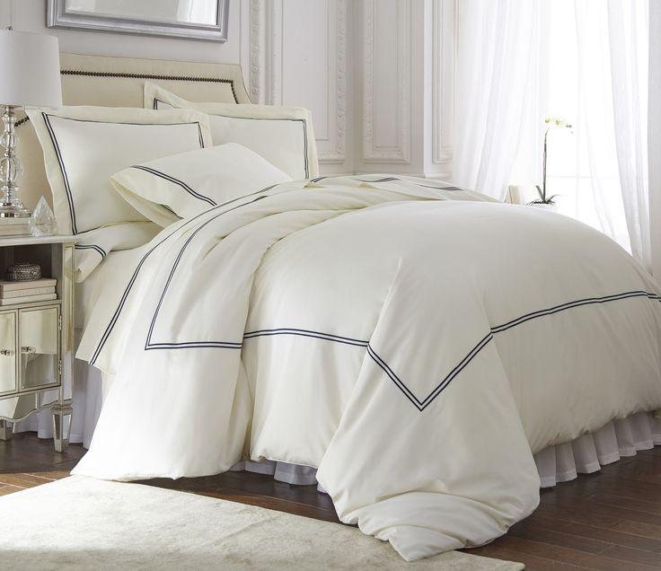 Q-DIAMENTE Venezia Embroidery Tencel Cotton Duvet Cover |Color :Navy Blue / Ivory - valenbedding.com