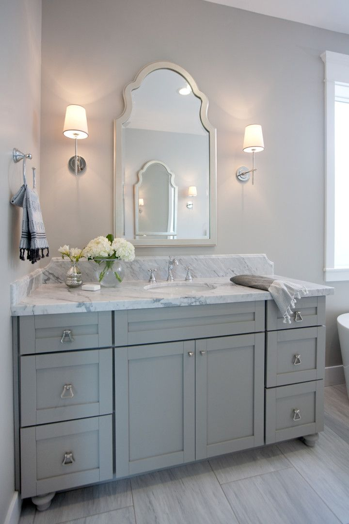 Small Grey Bathroom With Grey Cabinet And Beauty Mirror And Lighting    Themsfly