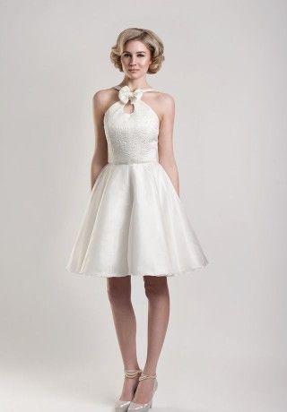 Satin Halter A Line Wedding Reception Dress