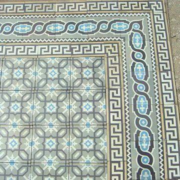 London Mosaic - French antique floor tiles circa. 1906  Frise des Maufroid Freres et soeurs-Bourlers-belgium