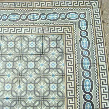 London Mosaic - French antique floor tiles circa. 1906  Frise des Maufroid Freres et soeurs-Bourlers-belgium