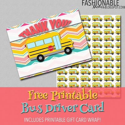 Fashionable Moms: Free Printable Bus Driver Thank You Card!