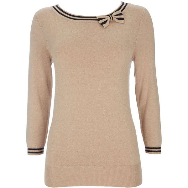 Camel Tipped Bow Detail Jumper ($35) ❤ liked on Polyvore featuring tops, sweaters, camel, beige sweater, fitted sweater, jumpers sweaters, beige top and rayon tops