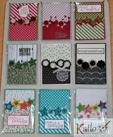 handmade set of cards ... found on Kathryn Ruddick's blog ... one layout design ... nine variations changing colors and patterned papers ... luv how she backed the buttons with punched shapes ... easy to do quickly (quicker than cards with fancy coloring, die cuts, layering and bows) ... luv the pretty look that allows for making  a lot in a short time ... Stampin' Up!