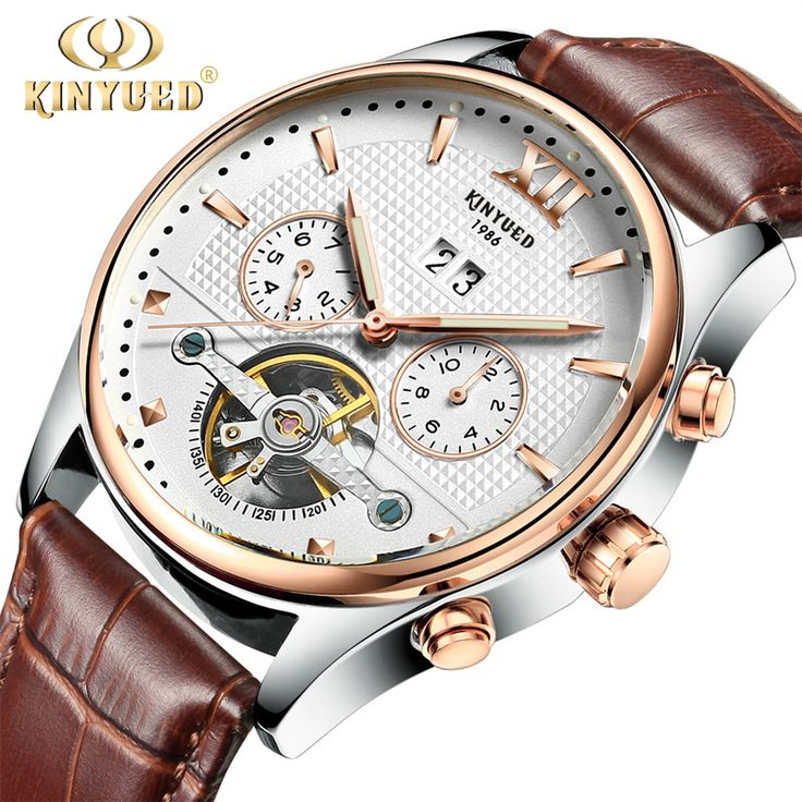 Brand Kinyued Mechanical Watches For Men Skeleton Automatic Tourbillon Watch Mens Gold Calendar Wristwatch Relogio Mecanico