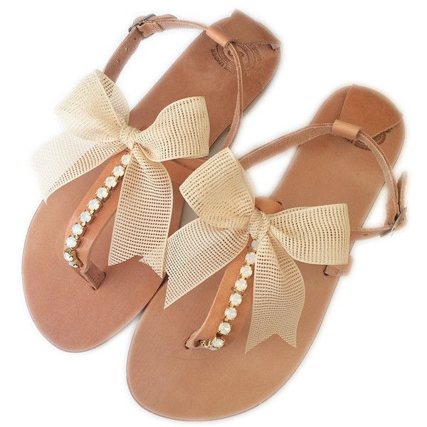 Beach Wedding Sandals. Wedding Sandals. Bridesmaid Sandals. Flat... ($82) ❤ liked on Polyvore featuring shoes, sandals, wedding shoes, flat bridal shoes, boho shoes, flat evening shoes and bohemian style sandals
