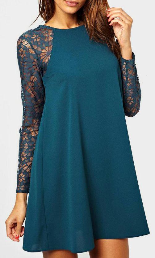 Blue Contrast Lace Long Sleeve Chiffon Dress