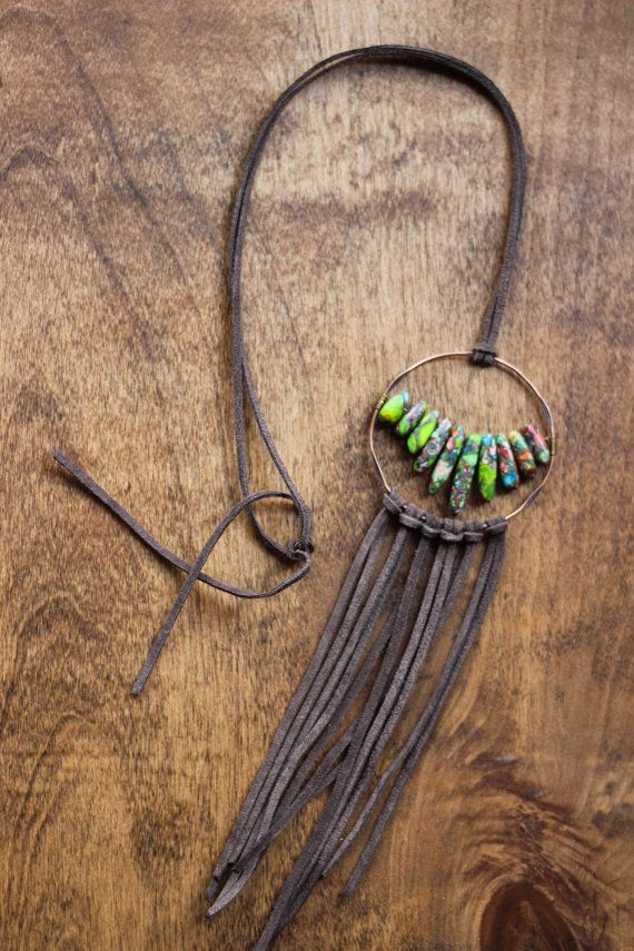 Gray Boho fringe necklace by beigeandbarn on Etsy