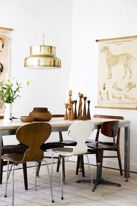 Dining room. Midcentury wood meets sleek metallics.