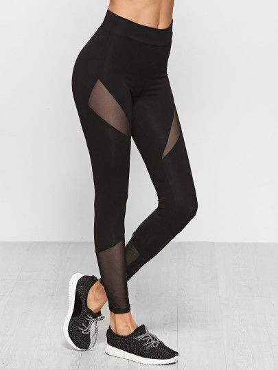 e0371e2b6a Mesh Insert LeggingsFor Women-romwe | work out clothes in 2019 ...