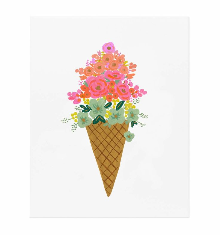 Ice Cream Cone Illustrated Art Print - two of my favorite things - ice cream and flowers