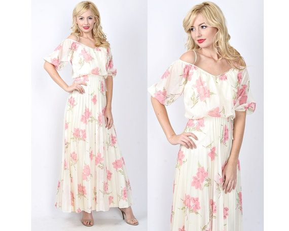 Vintage 70s Ivory  Pink Maxi Dress Boho Hippie by thekissingtree