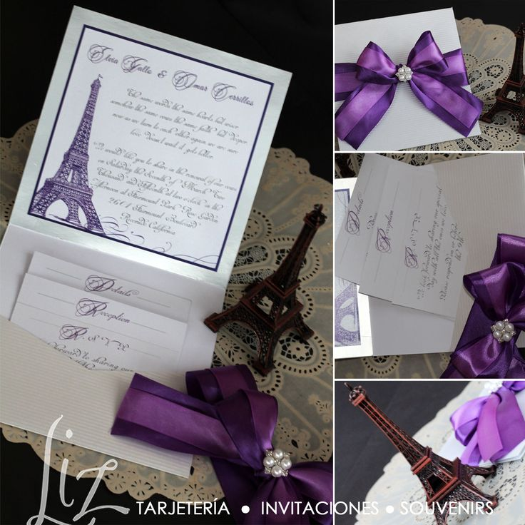Ooh la la! Eiffel et Paris, je t'aime ♡ Elvia & Omar, invitaciones con temática torre Eiffel / wedding invitations Eiffel tower / shades of purple