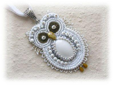 BéKata Ékszerei..embroidery beaded owl pendant.-Awesome!!!
