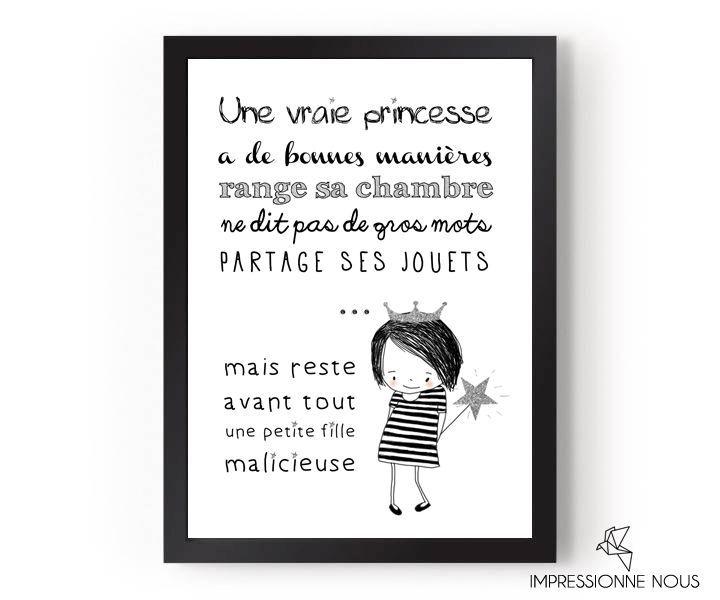 poster une vraie princesse affiches posters chambre enfant deco chambre garcon et deco. Black Bedroom Furniture Sets. Home Design Ideas