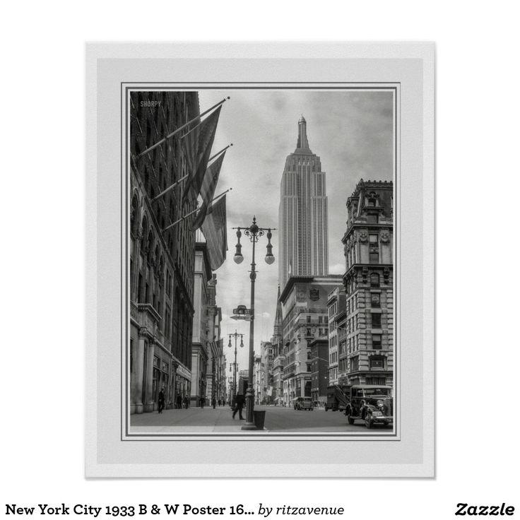 New york city 1933 b w poster 16 x 20 15 00