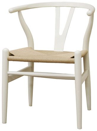 Wholesale Interiors DC-541-white Wishbone Chair - Ivory Wood Y Chair - Set of 2