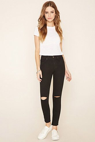 Ripped Knee Skinny Jeans F21, $22