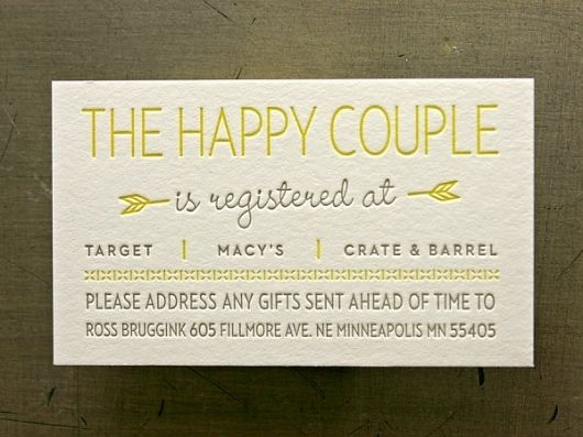 Great Wedding Gifts Not On The Registry : Registry cards Wedding Pinterest Wedding, Style and Love the