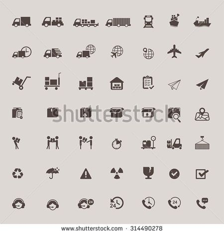 Logistic distribution, call center service, and transportation delivery icon set…