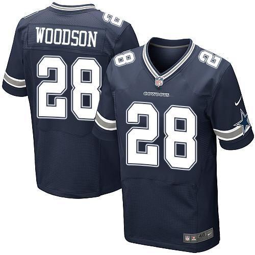 Nike Cowboys #28 Darren Woodson Navy Blue Team Color Men's Stitched NFL Elite Jersey