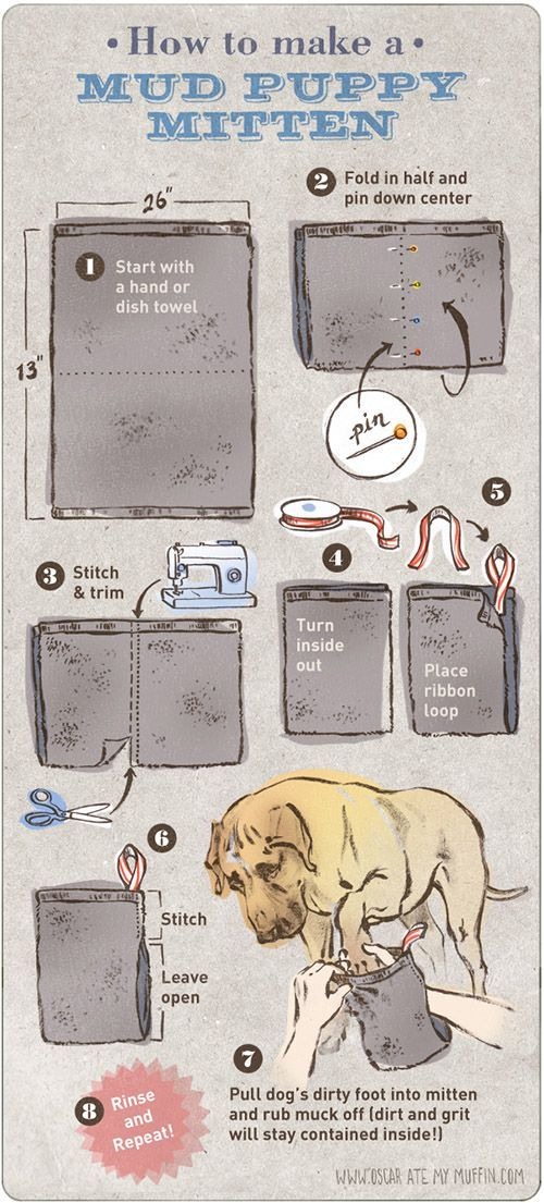 Just in time for spring: a DIY idea for dirty dog paws! Illustrated for dog-milk.com by Natalya Zahn (of oscaratemymuffin.com)