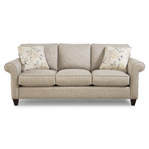Hickory Craft 742100 Transitional Sleeper Sofa with Sock-Rolled Arms and Memoryfoam Mattress