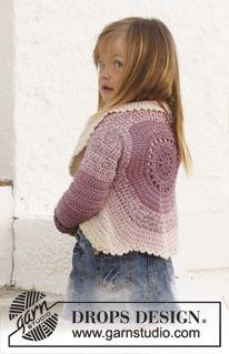 "Free Pattern. Crochet DROPS circle jacket in 2 strands ""BabyAlpaca Silk"". Size 3 - 12 years. ~ DROPS Design"