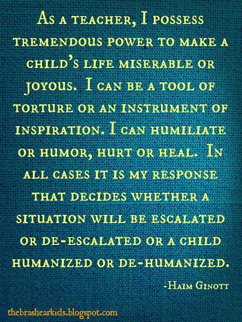 Quote of the Week - Haim Ginott on the The Brashear Kids Blog