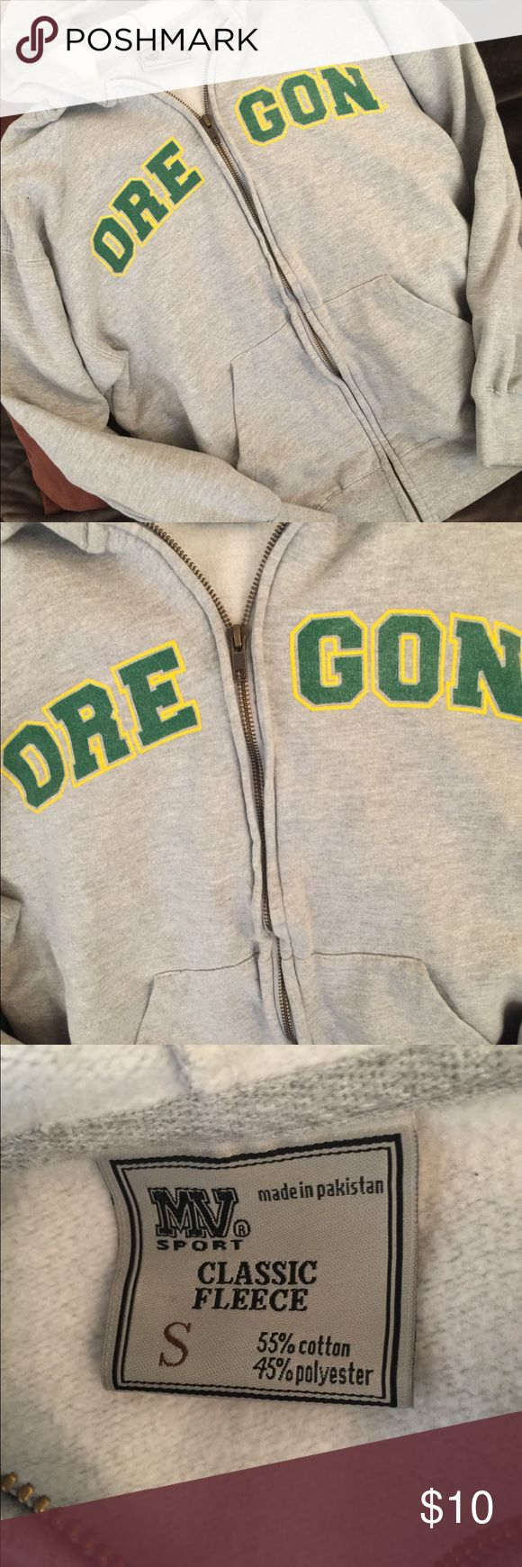 MV College Women's Oregon College Sweatshirt This is a zip up sweatshirt with hood. It is lightly worn with no stains or tears. It is missing the hood string. 55% Cotton and 45% Polyester. MV Tops Sweatshirts & Hoodies