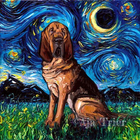 Bloodhound Dog Art Canvas Print Starry Night Aja 8x8 10x10 12x12