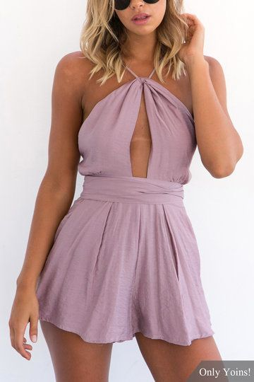 Purple Sexy Cut Out Backless Playsuit with Self-tie Design