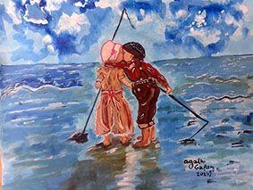 Ζωγραφική – ακρυλικό και λαδι σε καμβά  Διαστάσεις :40χ50 cm  Τίτλος : Πήγαν για ψάρεμα  Κωδ: 203-2017  Αgathi Galan