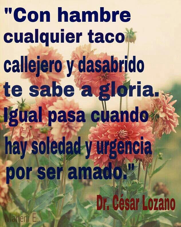 """""""Con hambre cualquier taco callejero y desabrido te sabe a gloria.  Igual pasa cuando hay soledad y urgencia por ser amado.""""  Dr. César Lozano"""