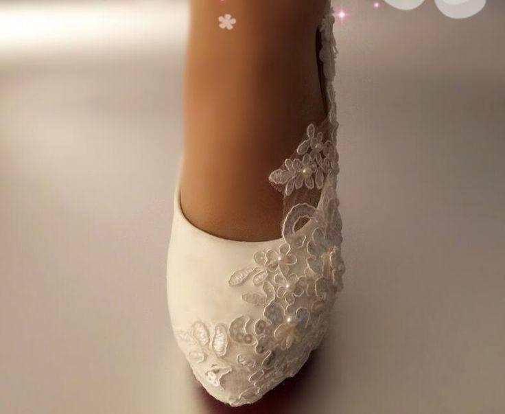 UK2.5-8 Pérolas Senhoras Branco De Renda Floral salto alto sapatos de noiva Banquete Stilettos