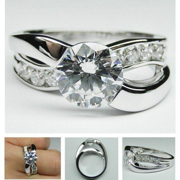 Cross cross Diamond engagement ring