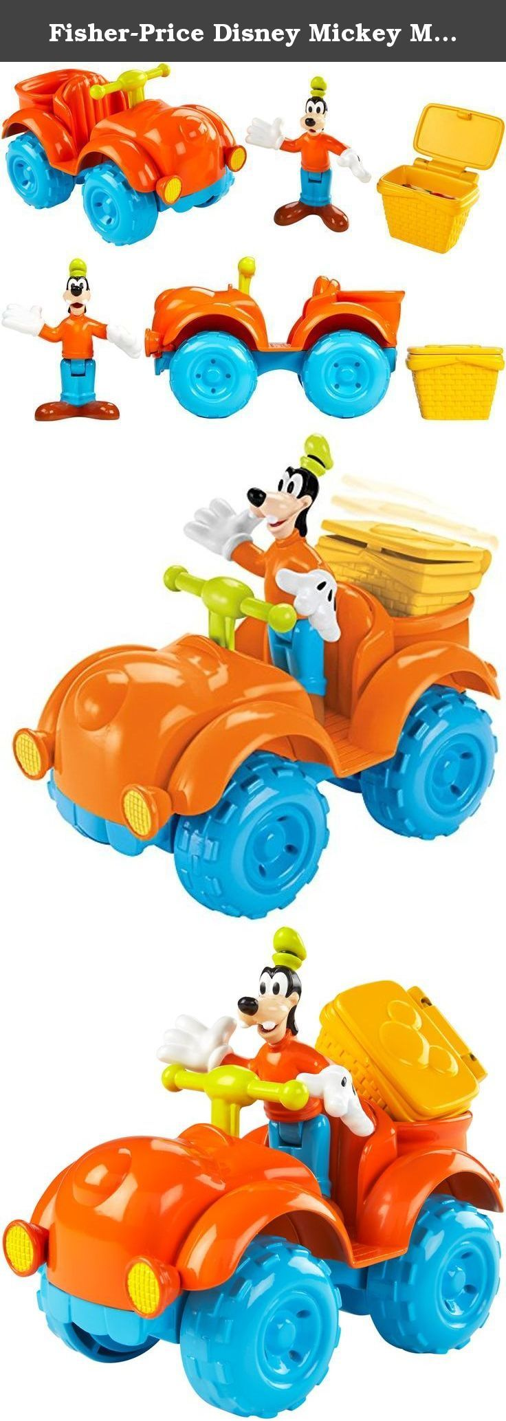Fisher-Price Disney Mickey Mouse Clubhouse Goofy Outdoor Cruiser Playset. Goofy is delivering a picnic basket to the campground for a fun-filled picnic lunch! This 3-inch Goofy figure can ride his bumblin' bouncin' ATV that you can push along. Goofy sits on his chunky-wheeled all-terrain vehicle and his picnic basket fits in the rear storage area. Roll the vehicle along and the picnic basket bounces up and down with a silly action! This fun vehicle figure set includes three play pieces in...